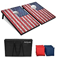 GoSports Classic Cornhole Set - Includes 8 Bean Bags, Travel Case and Game Rules (Choose between American Flag, Football, Rustic, Chevron and Classic Designs)