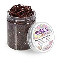 Hoyols Strong Hair Elastic Rubber Bands Ponytail Polyband No Damage Ties for Hair Women Girl Reusable 1000 Piece Pack (Brown)
