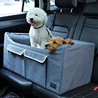 Petsfit Dog Car Seat for Medium Dog up to 45 Pounds Large Dog Car Seat,with Big Pockets and ONE Inside Leash (Gray) 29.5