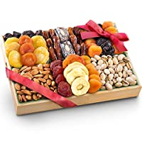 Pacific Coast Deluxe Dried Fruit Tray with Nuts Gift with Almonds and Pistachios for Holiday Birthday Healthy Snack Business Gourmet Food Platter 38 oz