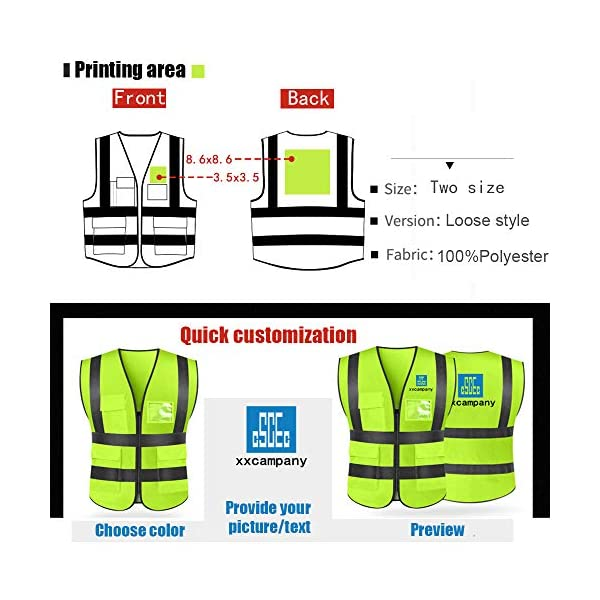 Black High Visibility Safety Vest Custom Your Logo Protective Workwear 5 Pockets With Reflective Strips Outdoor Work Vest L