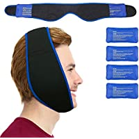 Face Ice Pack - Use as Wisdom Teeth Ice Pack, TMJ Relief Products, Jaw Pain - Hot & Cold Therapy for Chin, Headaches, Post Surgery Treatment - Adjustable Face Wrap Includes 4 Gel Packs