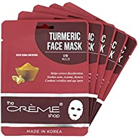 The Crème Shop Natural Essence Face Mask - Korean Facial Skin Care and Moisturizer - Turmeric for Soothing, Hydrating, Deep Cleansing, Healing, Reduce Redness - Natural Beauty Essence - 5 Sheets Set