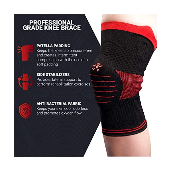 UFlex Athletics Knee Brace Support Sleeve with Side Stabilizers and Patella Padding for Post Surgery, Knee Replacement Treatment, ACL, MCL, Meniscus Tears, Arthritis, Tendonitis -Single Wrap