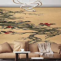 Albert Lindsay Backdrop Wall Paper Decorations Birds Chat on The Branches Chinese Painting Removable Wall Mural,154