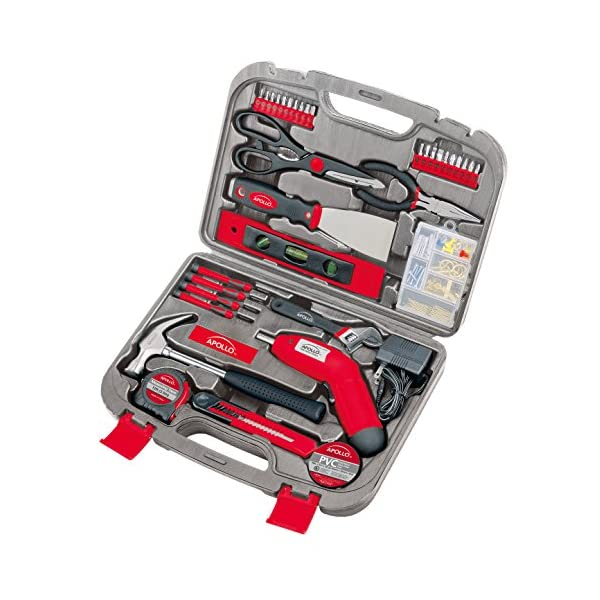 Apollo Tools DT0773 135 Piece Complete Household Tool Kit with 4.8 Volt Cordless Screwdriver and Most Useful Hand Tools and DIY accessories