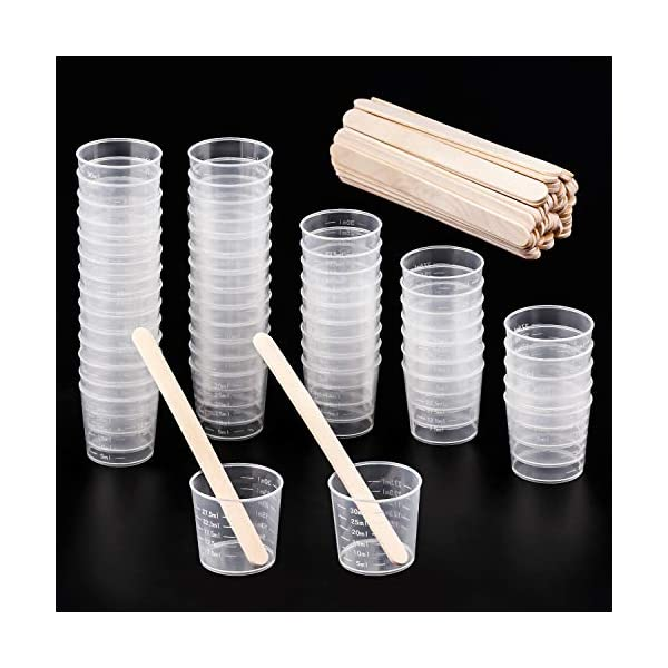 Stain Buytra 50 Pack 30ml Clear Graduated Plastic Cups Measuring Cups with 50 Pack Wood Stir Sticks for Mixing Paint Resin Epoxy