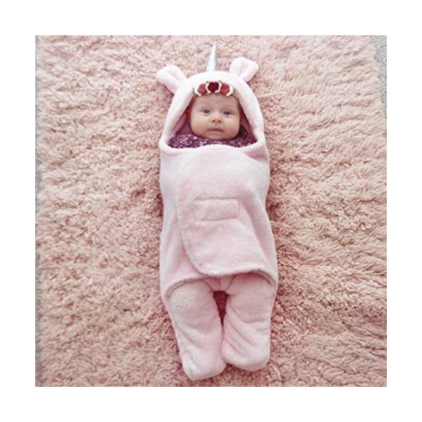 Newborn Babies Blankets Cute Unicorn Plush Swaddle Blankets Infants Baby Girl Gifts Warm Clothes Baby for 0-6 Months Pink