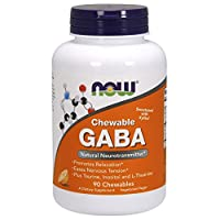NOW Supplements, GABA (Gamma-Aminobutyric Acid), Neurotransmitter Support*, Orange Flavor, 90 Chewables