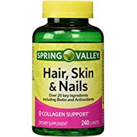 Spring Valley - Hair, Skin & Nails, Biotin-Collagen-Gelatin, 240 Caplets