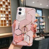 Case for iPhone 11 Marble Case,Girls Women Polished Plating Mosaic Marble Designed Flexible Soft Rubber Gel TPU Case Cover & Bling Glitter Diamond Ring Stand for iPhone 11 Silicone Case,Pink B