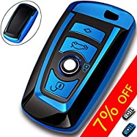KeyGuardz Keyless Entry Remote Car Smart Key Fob Outer Shell Cover Soft Rubber Protective Case For BMW KR55WK49127