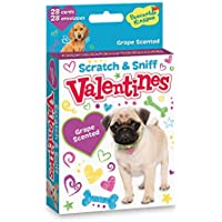 Peaceable Kingdom Scratch and Sniff Dog Valentines - 28 Grape Scented Card Pack