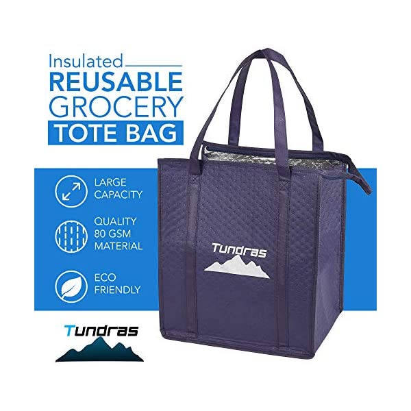 ATBAY Insulated Grocery Tote Bag Large Reusable Shopping Bags with Zippered Top and Outside Pocket,Navy Blue 2 Pack
