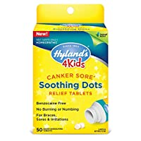 Canker Sore Treatment for Kids by Hyland's 4Kids, Natural Pain Relief of Mouth Ulcer, Braces, and Oral Irritation, 50 Count