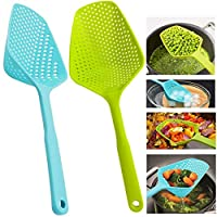 Scoop Colander Strainer Spoon - DILEECIS Kitchen Food Drain Shovel Strainers, Nylon Slotted Skimmer and Sifter Sieve with Handle for Cooking, Baking - 2 PIECES