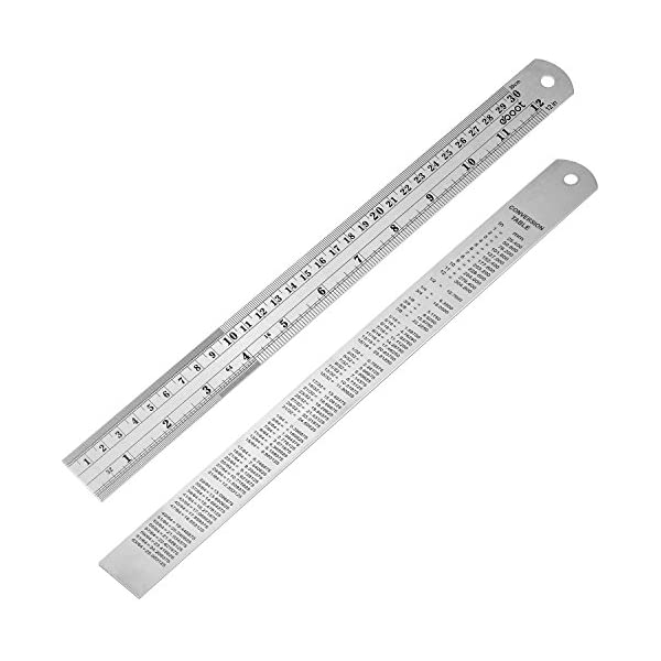 6 Inch Stainless Steel Metric Rulers for Excellent Precision and Accuracy W.A Stainless Steel Ruler Set 3 Pack Includes 2 12 Inch Portman