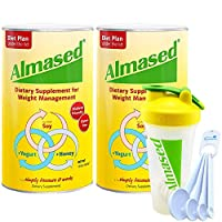 Almased Powder Multi Protein Meal Replacement Shake 17.6 oz Bundle with a Shaker Bottle and Lumintrail Measuring Spoon Set (2 Pack)