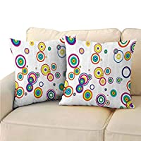 Xlcsomf Abstract Decorative Square Throw Pillow Cover, Geometric Circular Round Forms with Dots Retro Vibrant Stylish Creative Image for Sofa Bedroom Car (2 PCS, 12x12 Inch) Multicolor