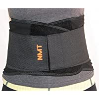 Back Brace by NMT ~ Lumbar Support Black Belt ~ Posture Corrector ~ Arthritis, Pain Relief, Sciatica, Scoliosis ~ Physical Therapy for Women-Men ~ 4 Adjustable Sizes- 'M' Fits Waist 28-34