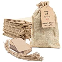 """50x Burlap Bags with Drawstring by Kona Kift! 5x7.5"""" Small Party Favor Gift Bags + Bonus Gift Tags & String! Brown Bags Bulk Small Size for Birthday Bag, Craft Bags Or Party Bags for Kids Birthday!"""