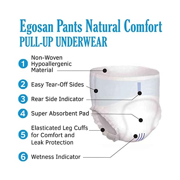 EGOSAN Super Incontinence Adult Pull Up Underwear Adult Diapers with Stretchable Waistband, Maximum Absorbency for Active Men and Women (Medium,14-Count)