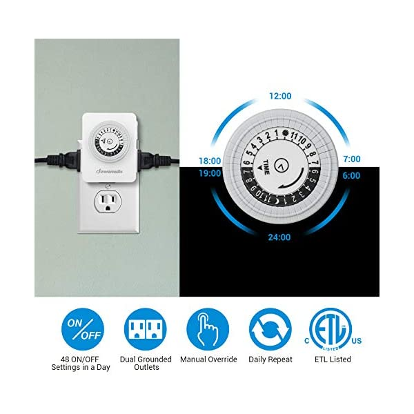 Plug-in Outlet Timer with Switch Plusmart Mechanical Timer Outlet ...