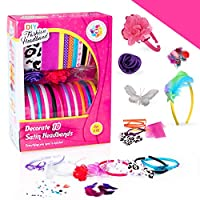 Arts and Crafts Kits for Girls Hair Accessories Ages 5-12 Year Old - Best Birthday Gifts/Toy/Creativity Kit to Make Your Own(DIY) Fashion Headbands/Jewelry Making w/ Satin Head Band Maker