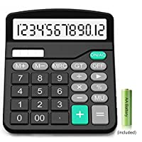 Calculator,12-Digit Solar Battery Basic Calculator,Solar Battery Dual Power with Large LCD Display Office Calculators(Black002) (Black002)