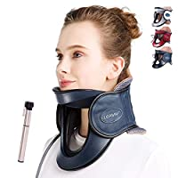 LEAMAI Newest Cervical Neck Traction Device - Adjustable Inflatable Neck Stretcher Collar for Home Traction Spine Alignment -(C03,Blue)