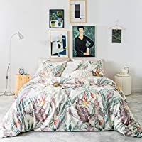 SUSYBAO 3 Piece Duvet Cover Set 100% Egyptian Cotton Sateen Queen Size Colorful Botanical Bedding Set 1 Tropical Leaves Duvet Cover with Zipper Ties 2 Pillowcases Luxury Quality Silky Soft Durable