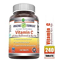 Amazing Formulas VitaminCwith Rose Hips and Citrus bioflavonoids–240Tablets-Non-GMO, Vegan - Promotes Immune Function* - Supports Healthy Aging* - Supports Overall Health & Well-Being*