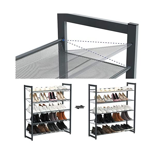 Space-saving Wall-mounted Shoe Rack mDesign Set of 2 Shoe Rack Adjustable Shoe Storage for 2 Pairs of Trainers Sports Shoes and More Bronze