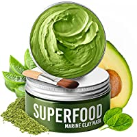 Clay Mask by Plantifique 100% Vegan with Avocado & Superfoods - Dermatologist Tested, Hydrating Dead Sea Mud Mask - Face Mask - Face Masks Skincare - 100ml/3.4 Oz Face Mask Skin Care for Acne