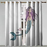 Blackout Curtains Fantasy Cartoon Mermaid Princess with Wavy Hair Crown Little Pink Heart and Fish Violet Blue and Beige Curtains for Girls Room 96x108 Inch
