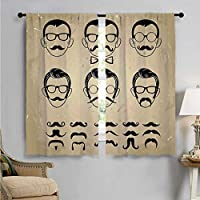 SUZM Room Darkening Wide Curtains, Male Face Moustache Hair, Decor Curtains by W63 x L63 Inch