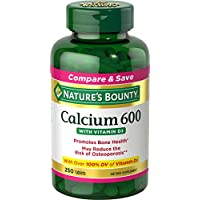 Calcium Carbonate & Vitamin D by Nature's Bounty, Supports Immune Health & Bone Health, 600mg Calcium & 800IU Vitamin D3, 250 Softgels