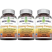 Amazing Nutrition Ginseng Complex - 1000 mg per Serving, 120 Capsules Per Bottle - Supports Healthy Immune Function, Brain Health, Promotes Energy Performance, Pack of 3 Bottles