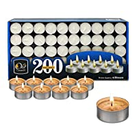 Ohr Tea Light Candles - 200 Bulk Pack - White Unscented Travel, Centerpiece, Decorative Candle - 4 Hour Burn Time.