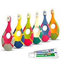 Ecovona - Baby Toothbrush for Infants & Toddlers 0-2 Years Old (6 Pack) | Bonus Fluoride Free Toothpaste Included | Teething Handle with Finger Hole & Extra Soft Bristles | Flexible BPA Free Plastic