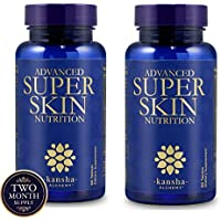 Kansha Brand - Premium Anti Aging, Anti Wrinkle for Revitalised Skin, Hair and Nails Vitamins, Includes Keratin Complex, Biotin, Hyaluronic Acid, Astaxanthin, and Vitamin C, 120 Tablets - Pack of 2