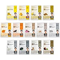 DERMAL 13 Collagen Essence Full Face Facial Mask Sheet Yellow Combo Pack - Skin Nourishing. The Ultimate Supreme Collection for Every Skin Condition Day to Day Skin Concerns.