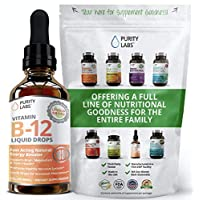 Liquid Vitamin B12 Drops Fast Acting B Complex 2 Ounces with Riboflavin, Niacin, B6 & Pantothenic Acid to Instantly Boost Energy Levels and Speed Up Metabolism Sublingual