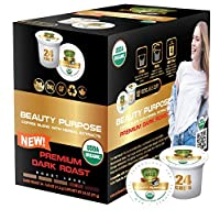 SOLLO Beauty Purpose Dark Coffee Pods Infused with Biotin, Collagen and Aloe Vera - Enhances Gorgeous Skin, Strong Nails & Healthy Hair Compatible With 2.0 K-Cup Keurig Brewers, 24 Count