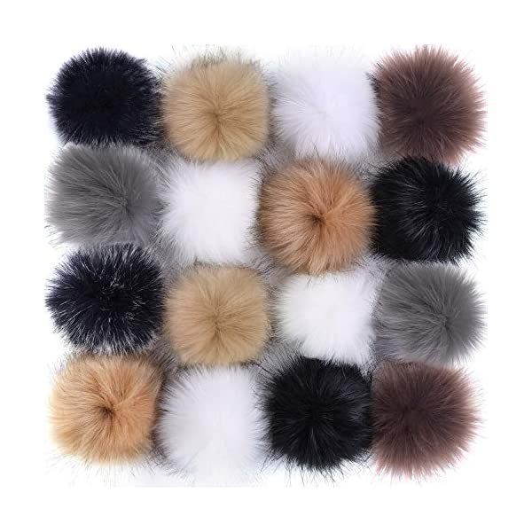 Waloden 20 Pieces Faux Fox Fur Pom Pom Ball Fluffy Pompom Balls for Knitting Hat Shoes Scarves Bag 5 Colors 20pcs
