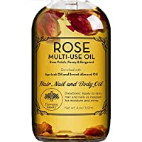 Rose Multi-Use Oil for Face, Body and Hair - Organic Blend of Apricot, Vitamin E and Sweet Almond Oil Moisturizer for Dry Skin, Scalp and Nails - Rose Petals, and Bergamot Essential Oil - 4 Fl Oz
