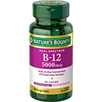 Nature's Bounty Vitamin B12 Dual Layer Supplement, Half Quick Release and Half Extended Release, Supports Metabolism and Nervous System Health, 5000mcg, 30 Tablets