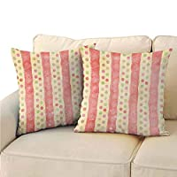 Xlcsomf Abstract Bedroom Pillowcase, Retro Stripes and Dots in Watercolor Featured Effects Nostalgic Pattern for Sofa (2 PCS, 16x16 Inch) Light Yellow Coral
