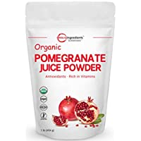 Organic Pomegranate Juice Powder, 1 Pound (16 Ounce), Freeze Dried & Cold Pressed, Natural Vitamin C to Support Immune System, Organic Flavor for Smoothie & Beverage, Vegan Friendly