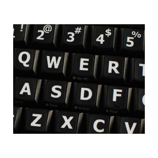 SPANISH LARGE UPPER CASE NON-TRANSPARENT KEYBOARD STICKERS ON BLACK BACKGROUND